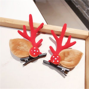 Christmas Hair Pin Clip w/ Deer Antlers & Mushroom